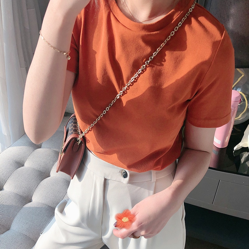 Mooirue 2020 Summer Women Orange T Shirt Short Sleeve O Neck Slim Basic Tee Shirt Tops
