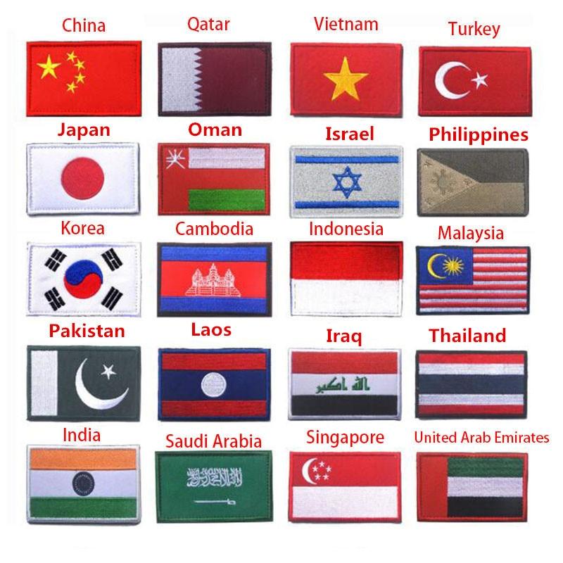 Asia bandera Corea Singapur Turquía India Vietnam Israel Saudi Omán Filipinas Laos Qatar 3D bandera parche chaqueta ropa parches