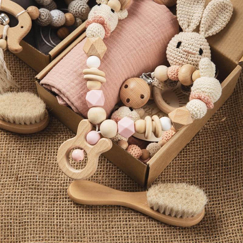 Набор игрушек для Купания новорожденных, Двустороннее хлопковое одеяло, связанная крючком погремушка игрушки на коляску, браслет для проре...