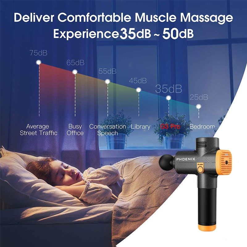 Phoenix a2 Massage Gun Percussion Black Body Massager Electric Therapy Lcd Gun Massage 4 Heads Massager Phoenix MG55008 enlarge