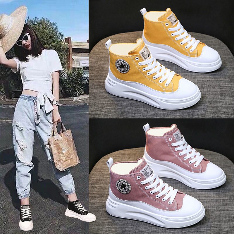 Woman High-top Canvas Shoes Brand Women Platform Sneakers 2020 Autumn New Ankle Boots Sports Casual