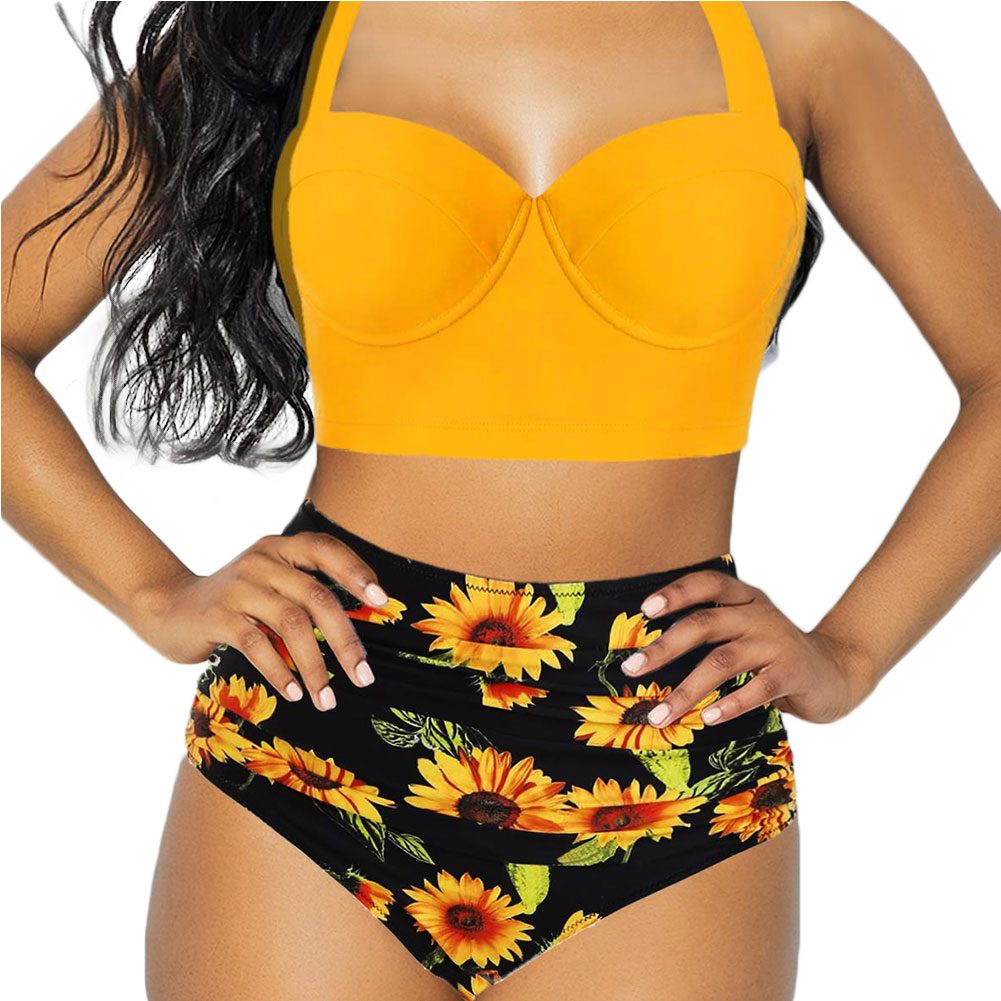 Women Sunflower Swimsuit Bikini Sexy Halter Neck Lace Up Beachwear Print Push-up High Cut Shorts Female Swimwear Bathing Suit