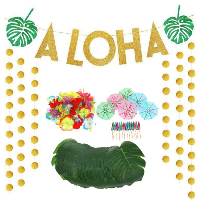 Afbc 189 pçs tema tropical havaiano decorações de festa conjunto inclui ouro glitter aloha banner cor mista papel guarda-chuvas tropic