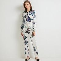 100% silk Pajamas Set for Women printed spring autumn long sleeve comfortable ladies nightdress
