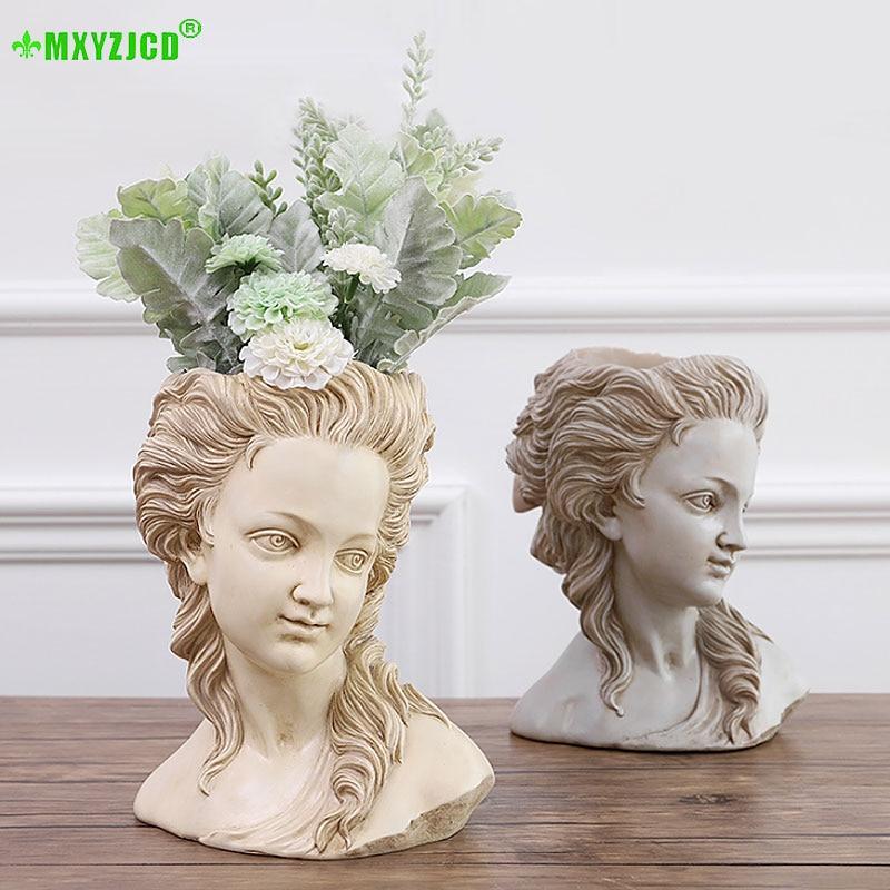 Diosa griega simulación cabeza de yeso maceta de flores de escritorio Retro suculenta planta bonsái decoración hecha a mano para el hogar