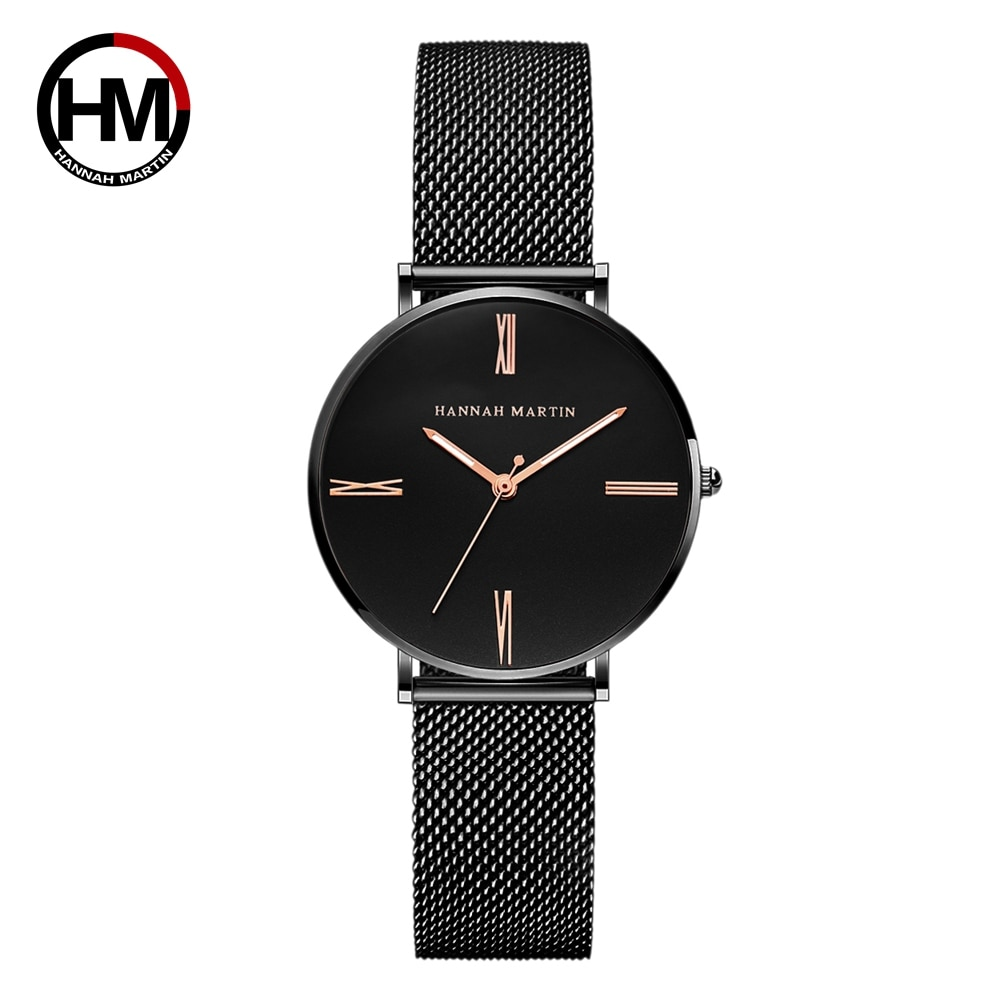 HM Japanese Quartz Movement Simple Dial Watch Women Stainless Steel Mesh Band Waterproof Ladies WristWatch Dropshipping HM07 enlarge