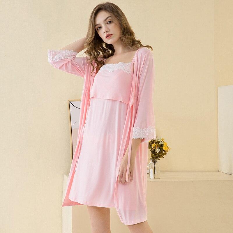2pcs/set Pregnancy Pajamas Sleepwear Nursing Pregnant Woman Sling Breastfeeding Nightgown Maternity Labor Dress+Robe Childbirth enlarge