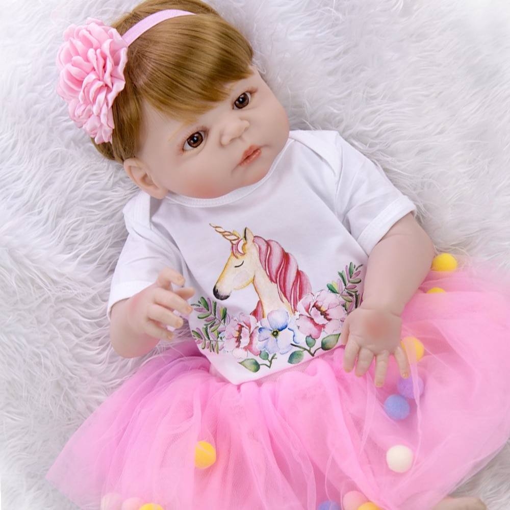 "NPK 23 ""Bebes reborn целые силиконовые куклы reborn baby girl body oyuncak bebek bonecas reborn child gift toy dolls"