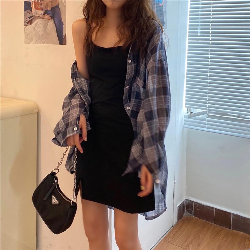 2pcs women set plaid shirt +strap dress 6114#