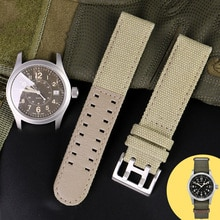 Canvas Leather Bottom Watc For Hamilton Khaki Field Watch H68201993 H7060596 Watchband Seiko Watch S