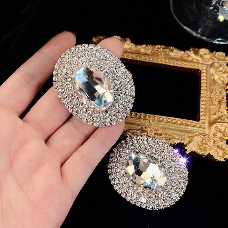 AENSOA brillant plein cristal gemmes grandes boucles doreilles pour les femmes mode luxe strass géométrique ovale déclaration boucles doreilles bijoux
