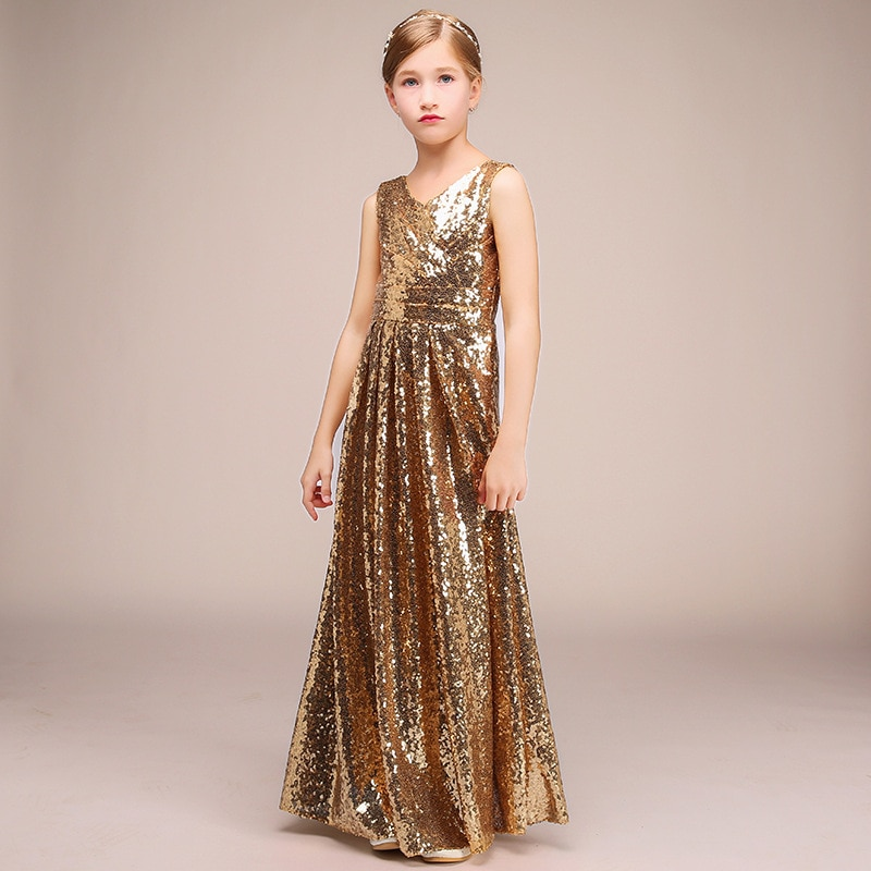 champagne kids girl formal party dress long tulle communion princess gowns flower girl dresses for wedding birthday Party Formal Dress For Kids Girl Sparkly Sequins Gold Long Birthday Communion Princess Gowns Flower Girl Dresses For Wedding