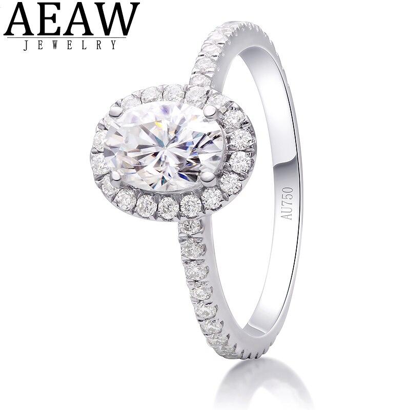 AEAW-خاتم من الماس المويسانتي للنساء ، خاتم ، 1.00 قيراط ، 5 × 7 مللي متر ، لون DF ، هالو ، خطوبة ، ذهب أبيض عيار 18 قيراط ، مجوهرات راقية للنساء