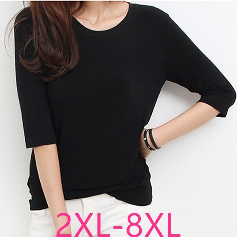2019 female summer plus size tops for women large short sleeve casual loose modal O neck T-shirt black 3XL 4XL 5XL 6XL 7XL 8XL