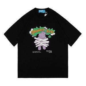Streetwear Harajuku T Shirt 2021 Men Hip Hop Cartoon Hippo Print Tshirt Summer Short Sleeve T-Shirt Cotton Casual Loose Tees ins