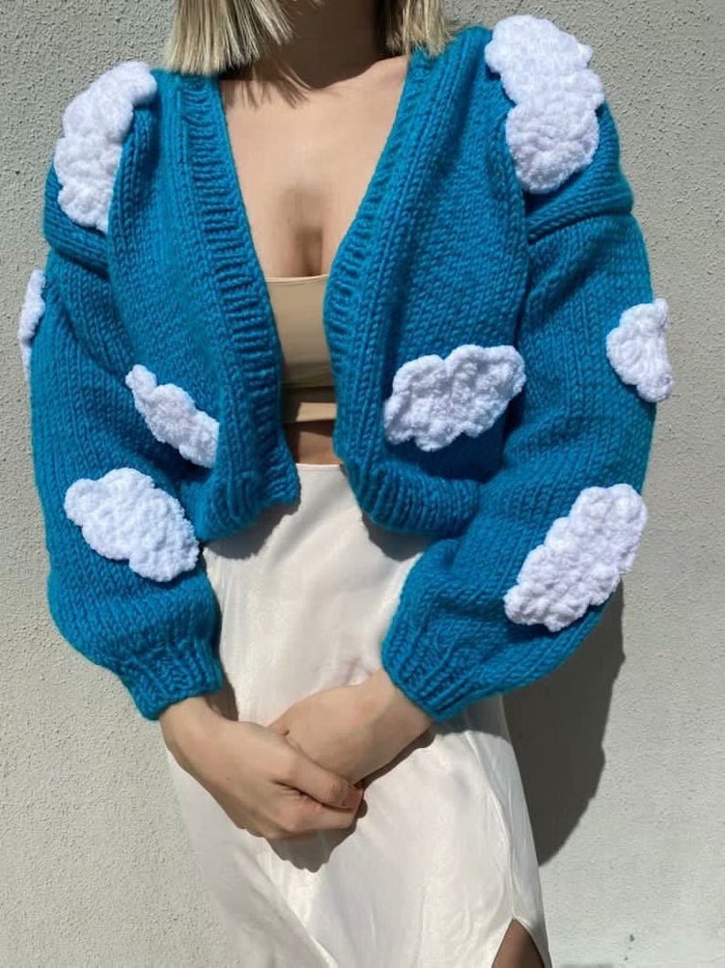 Clouds Kimono Cardigan Sweater Women Winter New Clothes Blue Puff Sleeve V-Neck Loose Casual Crop Top Sweaters Cropped Cardigans enlarge