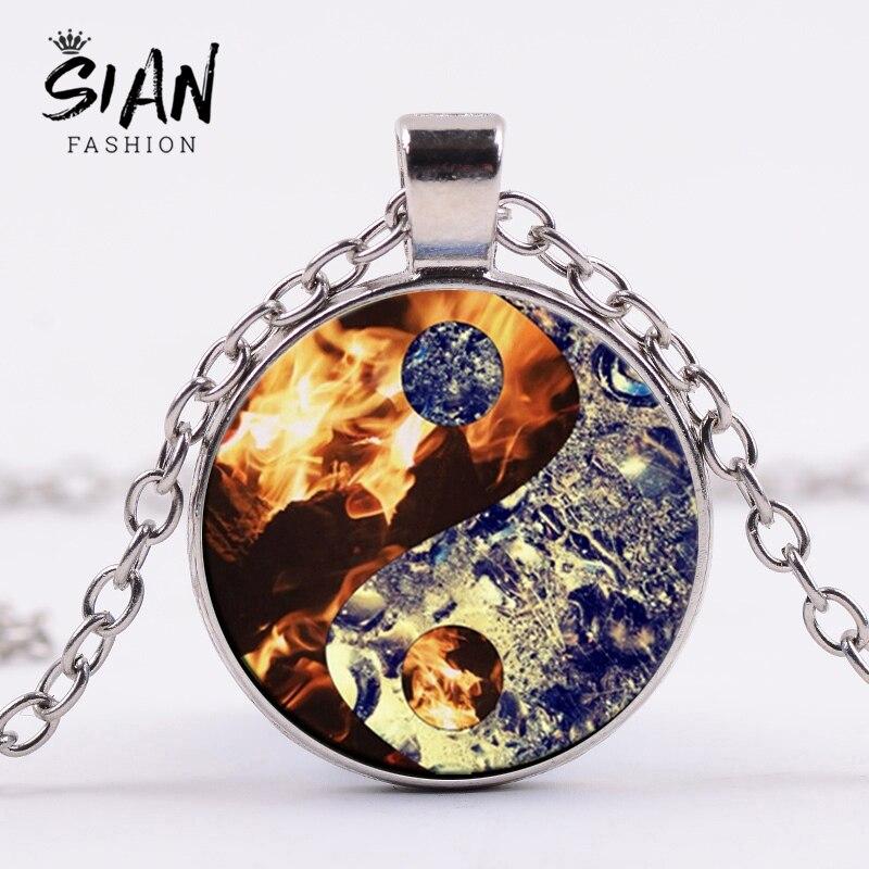 Collar con diseño de fuego y agua de SIAN Yin Yang, Tai Chi, taoísmo chino, ocho diagramas, cadena Punk, collares, cúpula de cristal, joyería para mujer