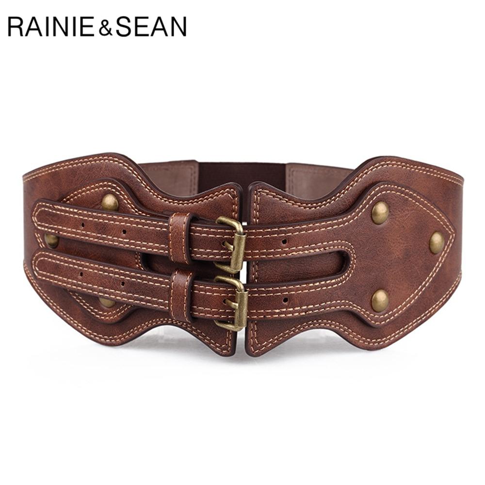 RAINIE شون إمرأة حزام جلد واسعة فاسق برشام الإناث أحزمة Cummerbunds براون السيدات مطاطا مشد