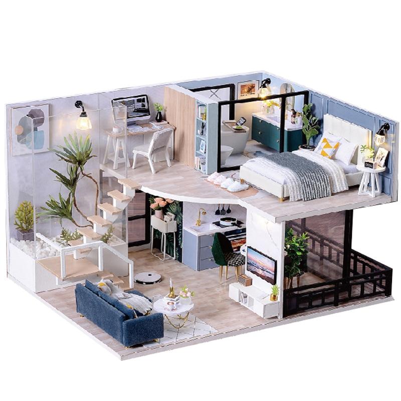 لتقوم بها بنفسك دمية خشبية مجموعات مصغرة مع ضوء الأثاث Moder Loft Roombox تجميعها نموذج ثلاثية الأبعاد للأطفال هدايا عيد ميلاد الكبار