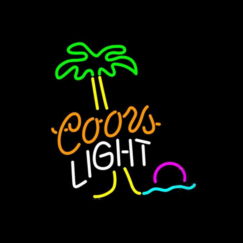 Coors ضوء شجرة النخيل الشمس شاطئ النيون تسجيل اليدوية أنبوب زجاجي حقيقي البيرة بار KTV مخزن المنزل الإعلان عرض ديكو هدية 14