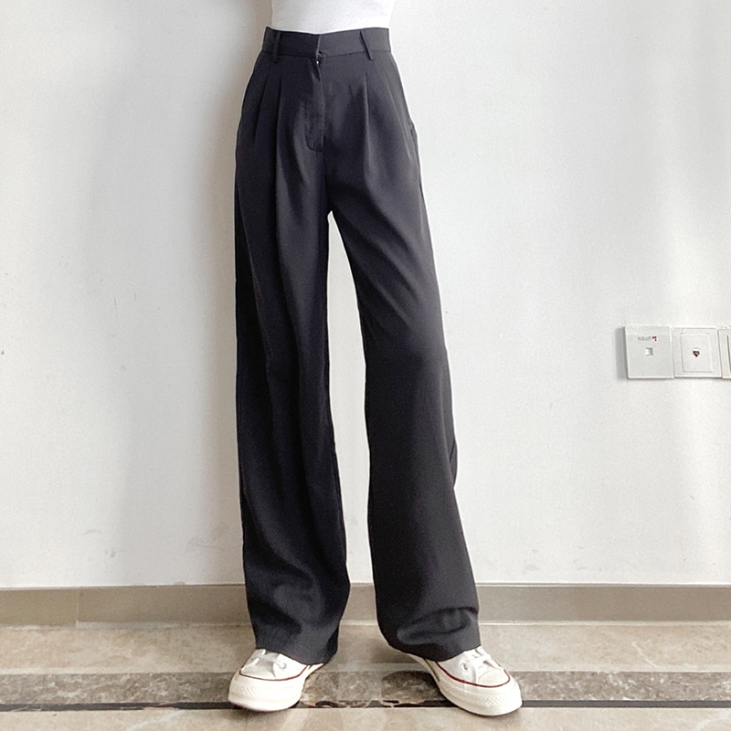 Significant leg length straight drape thin models temperament suit pants female wild thin mopping trousers wide leg pants