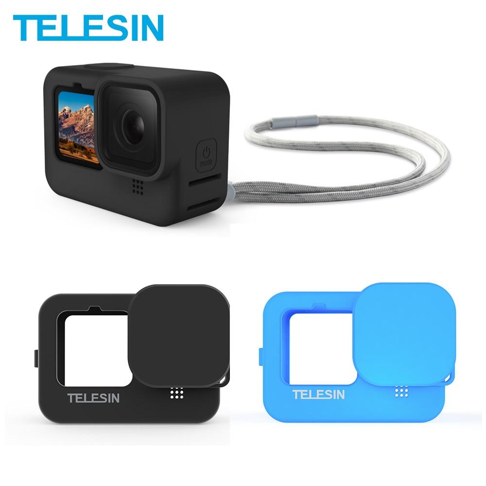TELESIN-funda de silicona blanda para GoPro 9 tapa de lente azul y...