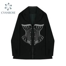 Fashion New Chic Design Women's Suit Coats 2021 Autumn Korean Style Close-Waist Design Print Long Sl