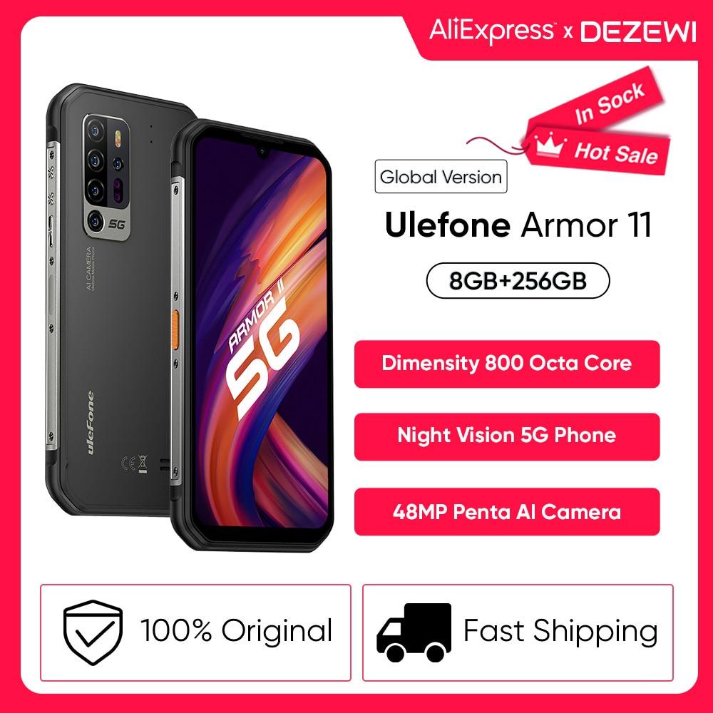 Перейти на Алиэкспресс и купить Телефон Ulefone Armor 11 5G защищенный, 20 МП, Android 10, 8 + 256 ГБ, 48 МП, NFC, Беспроводная зарядка