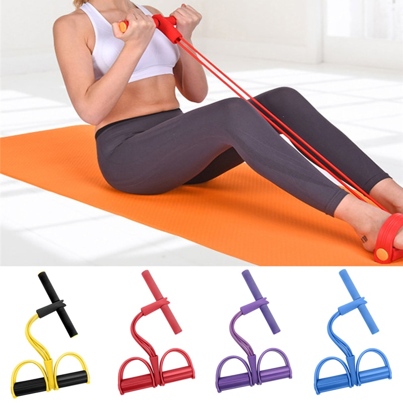 4 Resistance Elastic Pull Ropes Exerciser Rower Pull R Fitness Belly Gym Sport Elastic Bands Fitness Equipment Pilates Workout