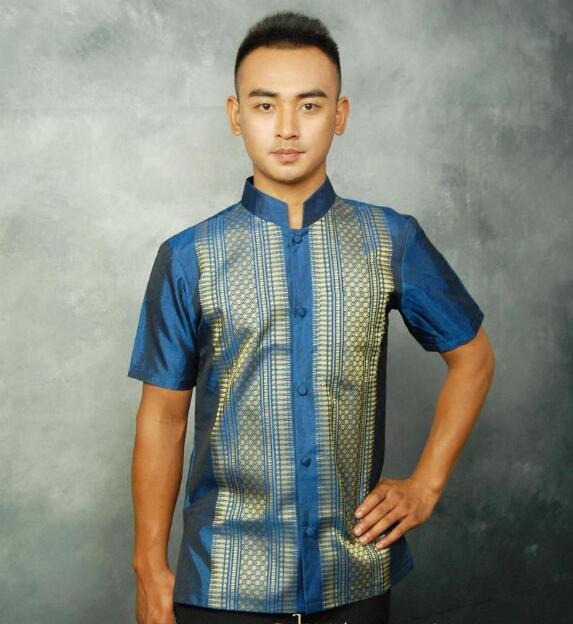 الصيف الرجال قميص تايلاند قصيرة الأكمام التايلاندية التقليدية بلوزة Vintage