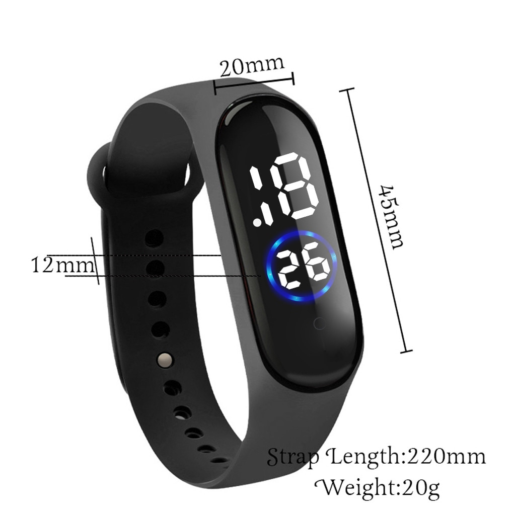 Unisex reloj deportivo Digital LED banda de silicona relojes de los hombres de los niños de moda reloj deportivo digital electrónico reloj regalos @ 5