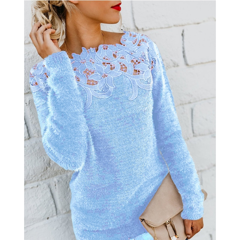 2019 Hot Selling European and American Women's Solid Color Panel Lace Lace Long-Sleeve Wool Sweater