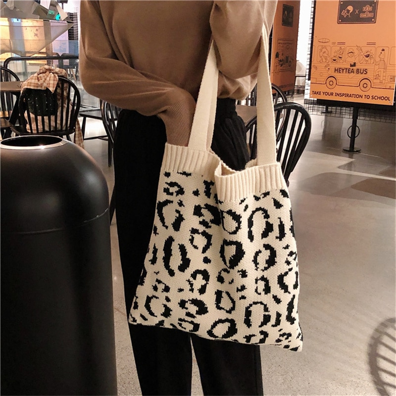 Women Knitted Shoulder Bag Leopard Print Ladies Shopping Bag Cotton Cloth Fabric Grocery Handbags Woven Tote Books Bag for Girls