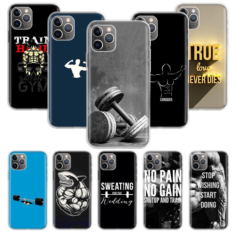 Чехол для бодибилдинга, тренажерного зала, фитнеса, для Apple iphone 11 Pro XS Max XR X 7 8 6 6S Plus 5 5S SE 10 десять подарочных силиконовых чехлов для телефона