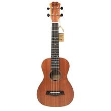 21 pulgadas ukelele caoba Soprano principiante ukelele guitarra delfín patrón ukelele caoba cuello delicado afinación Peg 4 cuerdas Woo