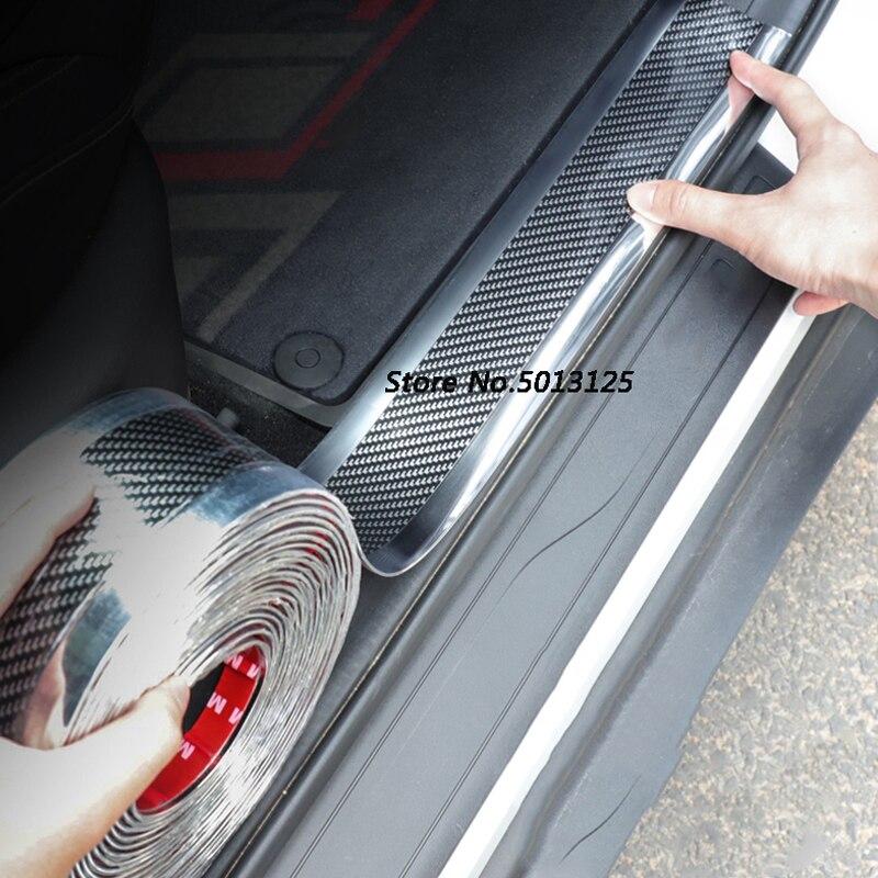 Para Toyota Vitz 2020, 2017, 2018, 2019 Puerta de coche guardia parachoques de fibra de carbono de goma estiloso Protector de alféizar de puerta
