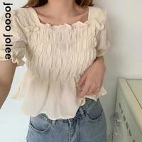 puff sleeve square collar women blouse chiffon elegant elasticity shirts summer korean style solid ruffles pleated tops tunic