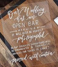 Open Bar Sign, Acrylic Wedding Sign,  Wedding Bar Sign, Lucite Sign, Rustic Modern Weddings