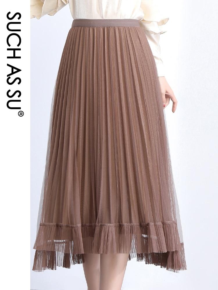 2020 verano Costura de malla faldas plisadas mujeres negro gris café albaricoque elástico Faldas de cintura alta falda asimétrica femenina