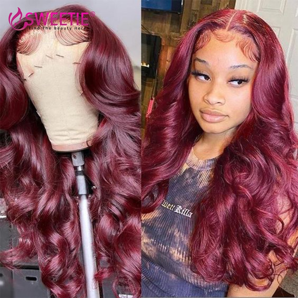 99J Burgundy Body Wave 13x4 Lace Front Wigs 13x1 T Lace Wig For Women Brazilian Pre Plucked Red 4x4 Lace Wig Remy Human Hair 30