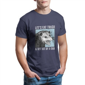 Давайте съедаем мусор и нажимаем на автомобиль Opossum Vintag Футболка Модные Винтажные Графические Топы Хип-хоп футболки 25948