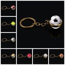 Porte-clés boule de verre Double face basket-Ball Baseball Football volley-Ball Tennis Softball Golf photo pendentif en verre porte-clés en métal