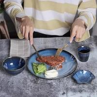 japanese creative ceramic plates tableware household dish rice bowls retro kiln changed porcelain blue dinner plates dinner set