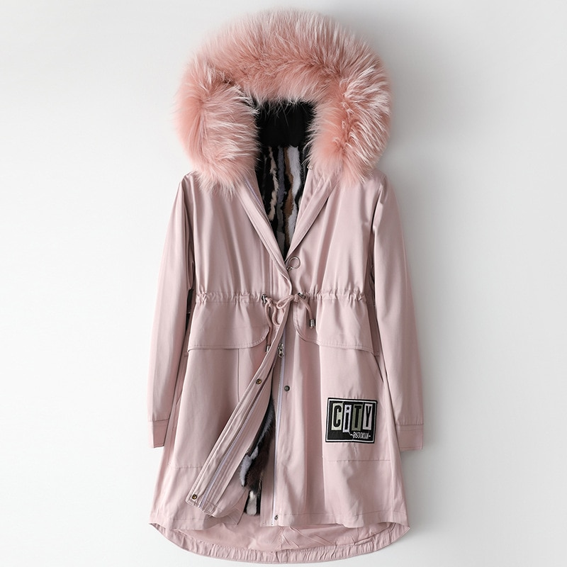 Fashion Winter 2020 Mink Fur Liner Raccoon Dog Fur Collar Hooded Parka Women Real Fur Loose Casual Thick Warm Jackets Outwear