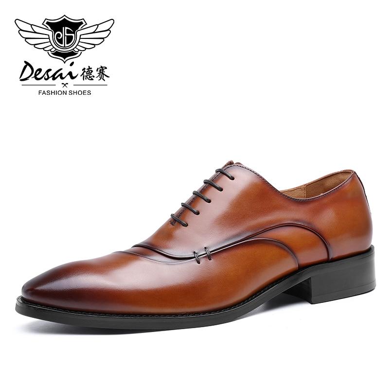 Desai-حذاء جلد أصلي للرجال ، حذاء سهل الارتداء بأربطة أكسفورد ، حذاء زفاف آمن عصري