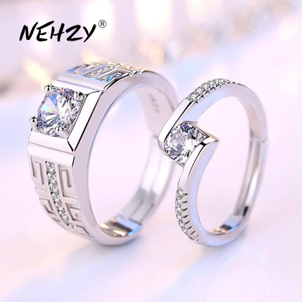 Nehzy 925 prata esterlina nova jóias moda mulher homem anel de abertura presente aniversário casamento noivado casal anel