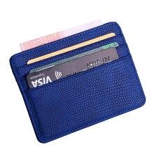 Eidechse Muster Leder Kreditkarte Halter Kleine doppelseitige Karte Brieftasche Männer Frauen ID Bank Karte Fall Multi-karte slot Mini Geldbörse
