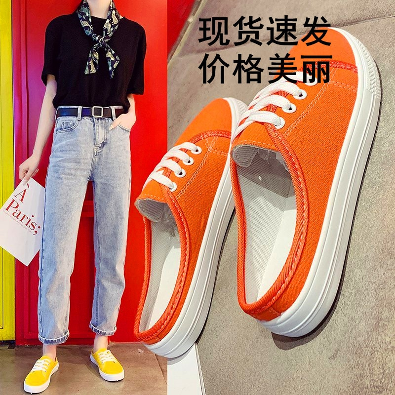 2021 Women Half Heel Shoes Ladies Sneakers Lace-up Canvas Vulcanize Sport Casual Lazy Shoe Breathabl