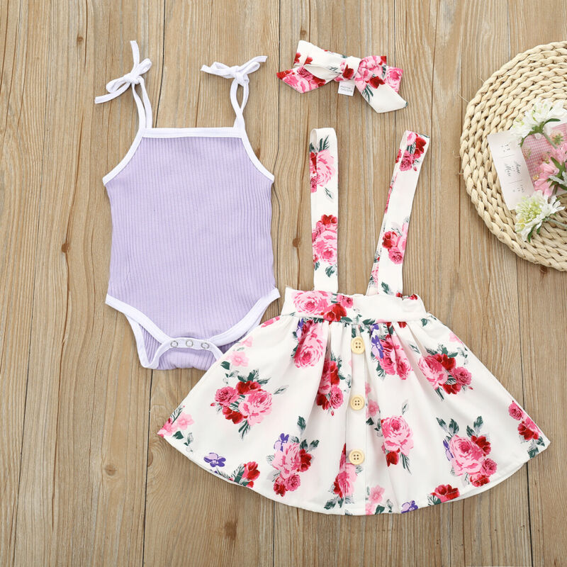 2020 Newborn Baby Girl Princess Sleeveless Top Romper Short Skirt Outfit Clothes