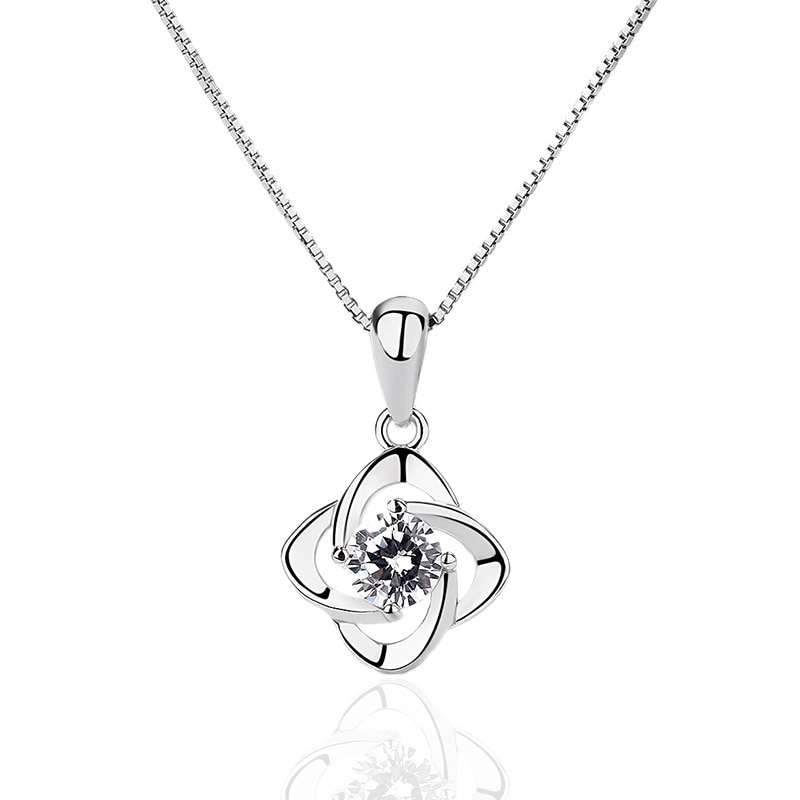 Fashion 925 Sterling Silver Women Necklaces & Pendants Cubic Zirconia Charm Fine Jewelry Wedding Gifts for Girls